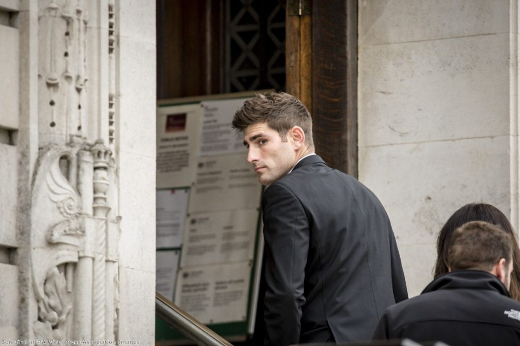 Footballer Ched Evans arriving at Cardiff Crown Court