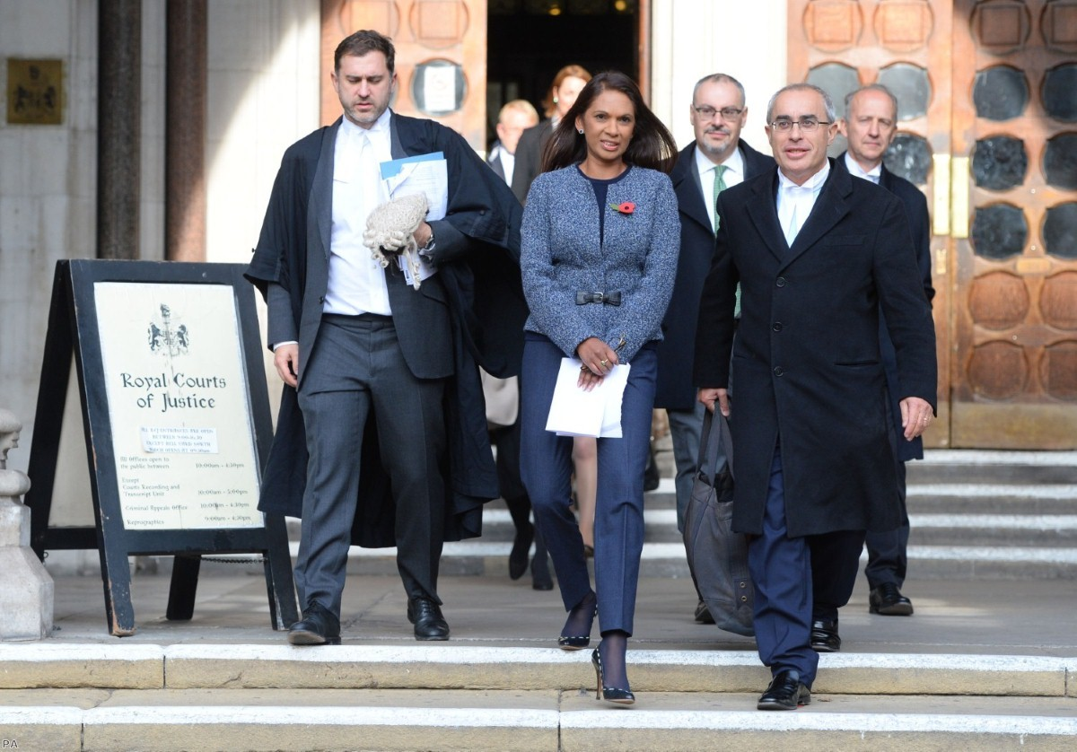 Gina Miller leaves the High Court where judges have ruled that Parliament must vote on Article 50