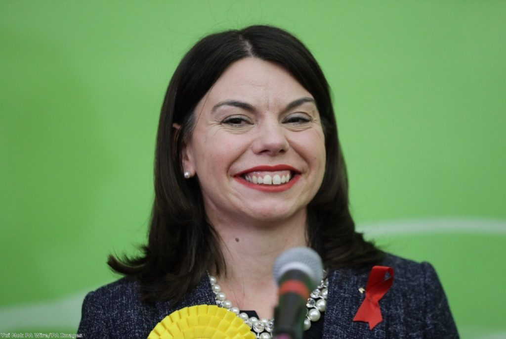 Liberal Democrat candidate Sarah Olney celebrates after winning the Richmond Park by-election