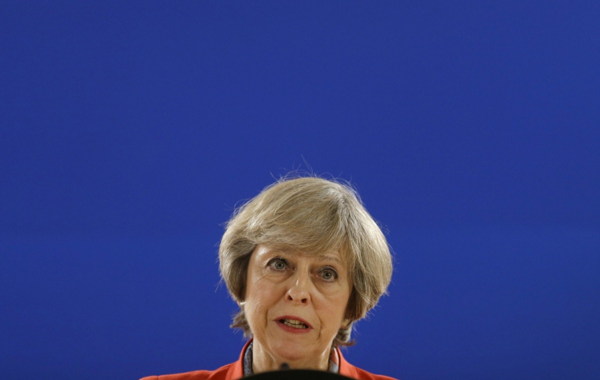 Theresa May answers a question during a press briefing at the EU Summit in Brussels last October