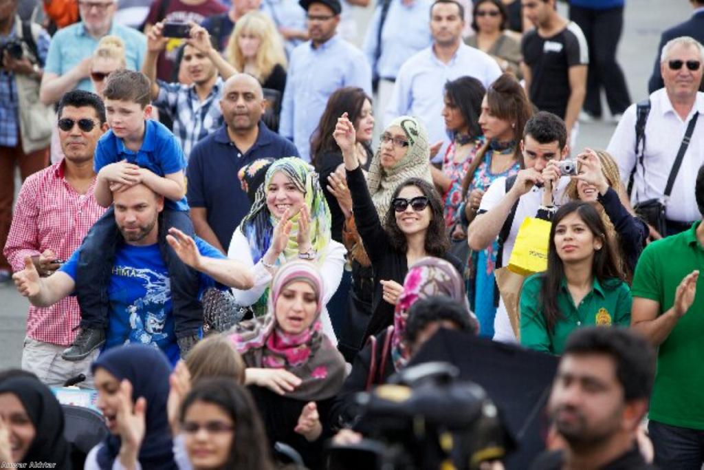 British Muslims celebrate the festival of Eid in London