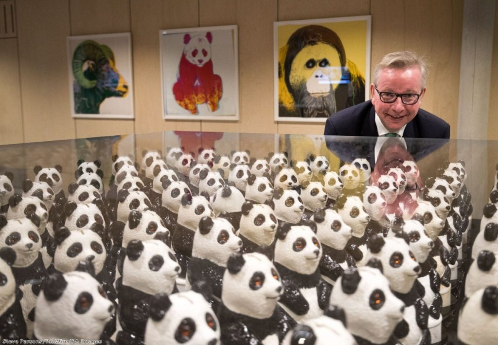 Michael Gove at an art installation - his first speech in his new job struck an upbeat tone