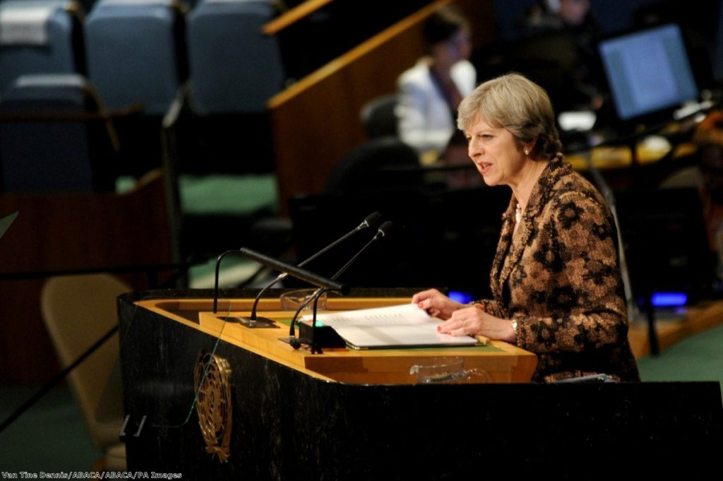 """Just one day in the life of Brexit Britain. Speaking to an empty hall at the UN. Belittled for its desperation by the press of countries it seeks trade deals with."""