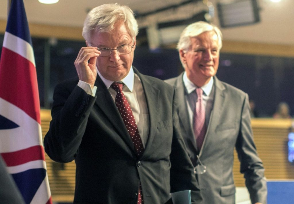 Davis and Barnier emerge for a press conference. This appearance was far less frosty than the last.