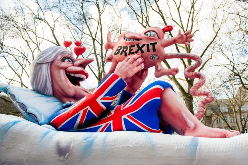 A float featuring Theresa May is seen during the annual Rose Monday parade last Monday in Dusseldorf, Germany.