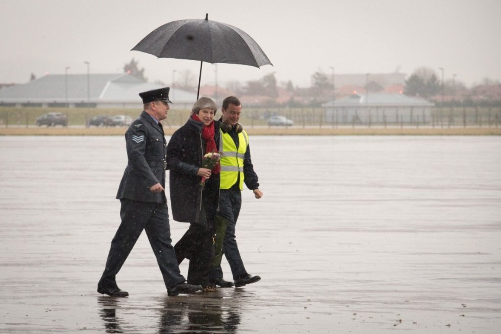 Theresa May arrives at RAF Northolt during a tour of the four nations for the anniversary of triggering Article 50