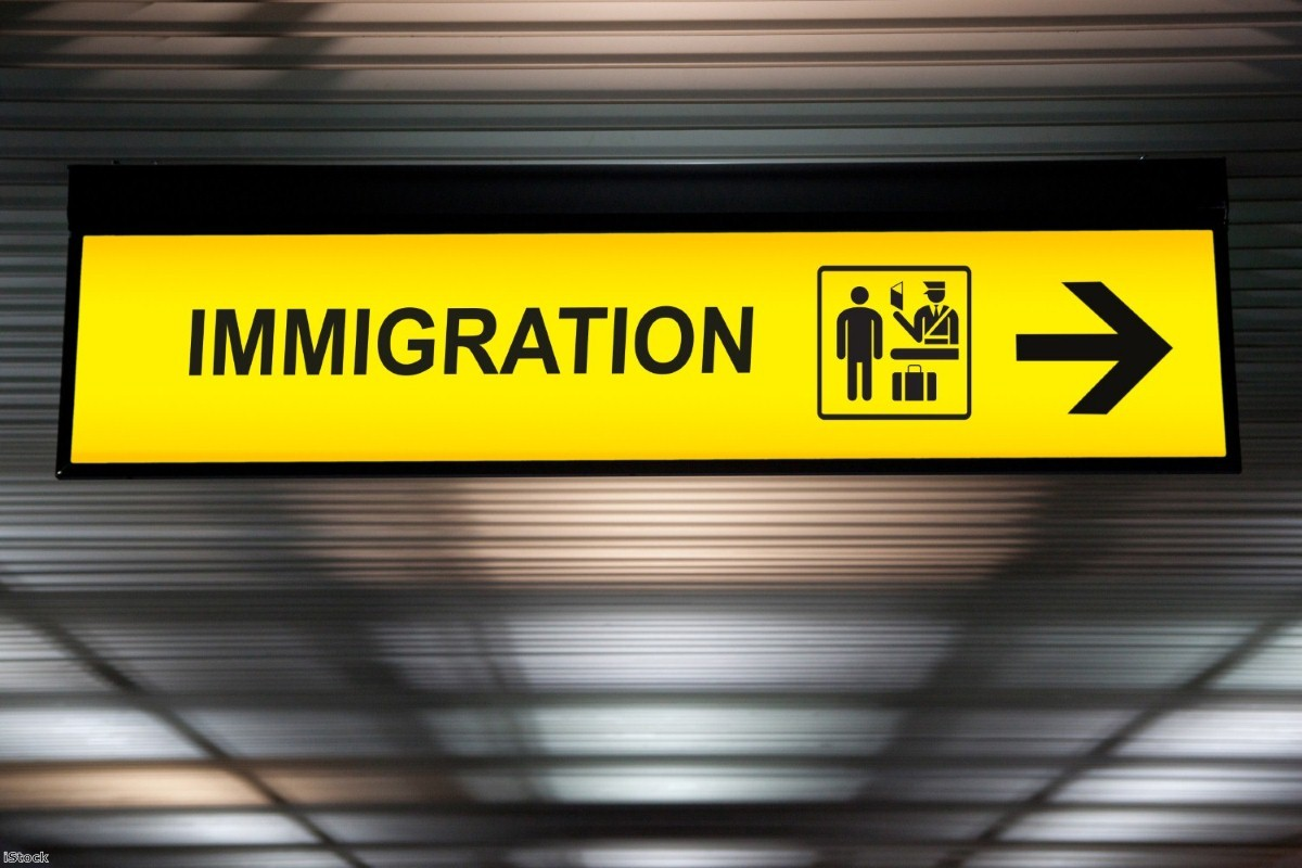 Airport immigration and customs sign   Copyright: iStock