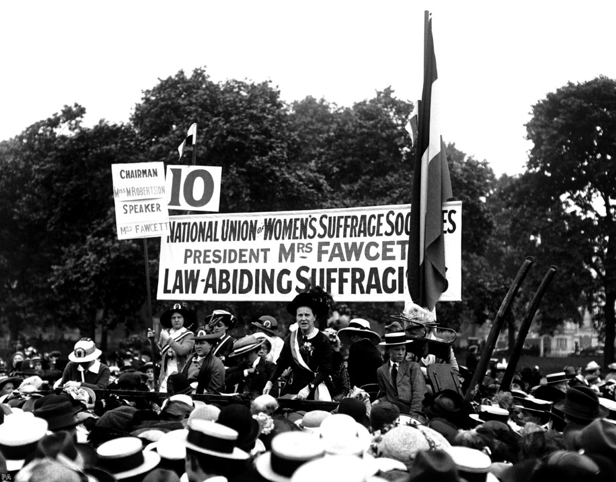 Millicent Fawcett speaks at the Suffragette Pilgrimage in Hyde Park in 1913 | Copyright: PA