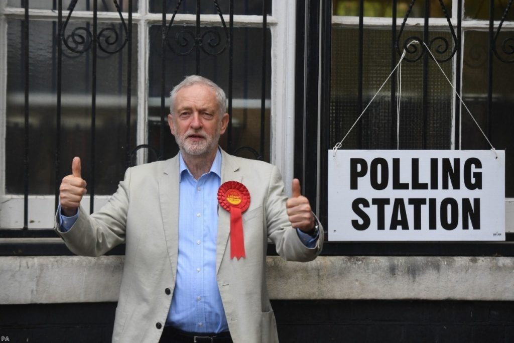 Labour leader Jeremy Corbyn cast his vote at the polling station in Holloway, London, yesterday | Copyright: PA