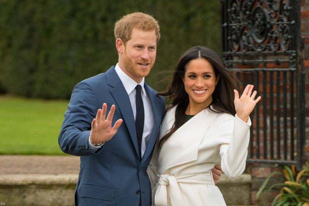 Prince Harry and Meghan Markle at Kensington Palace, London, after the announcement of their engagement. | Copyright: PA