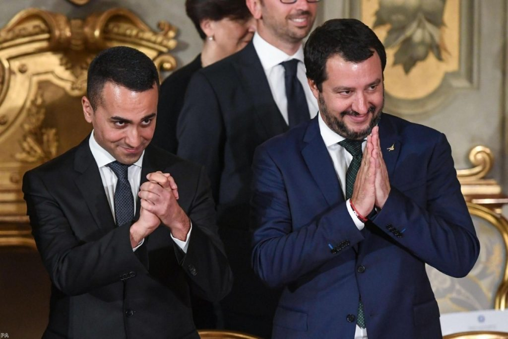Matteo Salvini and Luigi Di Maio during the swearing-in ceremony for Italy's new government on June 1, 2018. | Copyright: PA