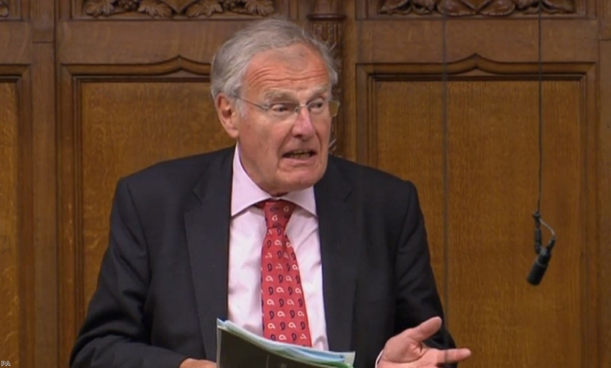 Sir Christopher Chope speaking in the Commons as plans to criminalise upskirting have been derailed | Copyright: PA