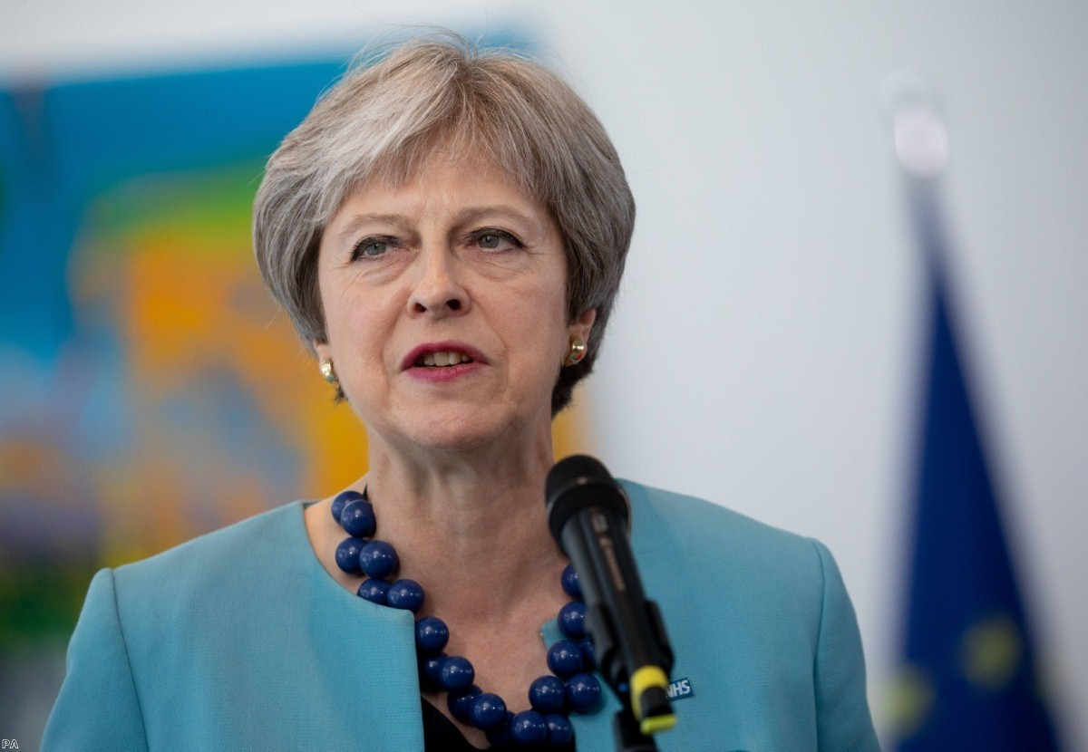 Theresa May during a statement at the German chancellery in Berlin on July 5, 2018 | Copyright: PA