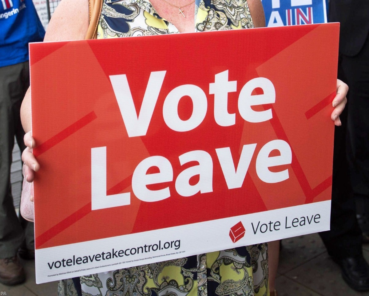 Woman holds a Vote Leave poster on June 7th, 2016 | Copyright: PA
