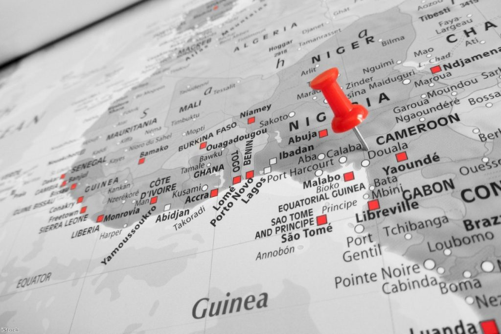 Red marker over Cameroon map | Copyright: iStock