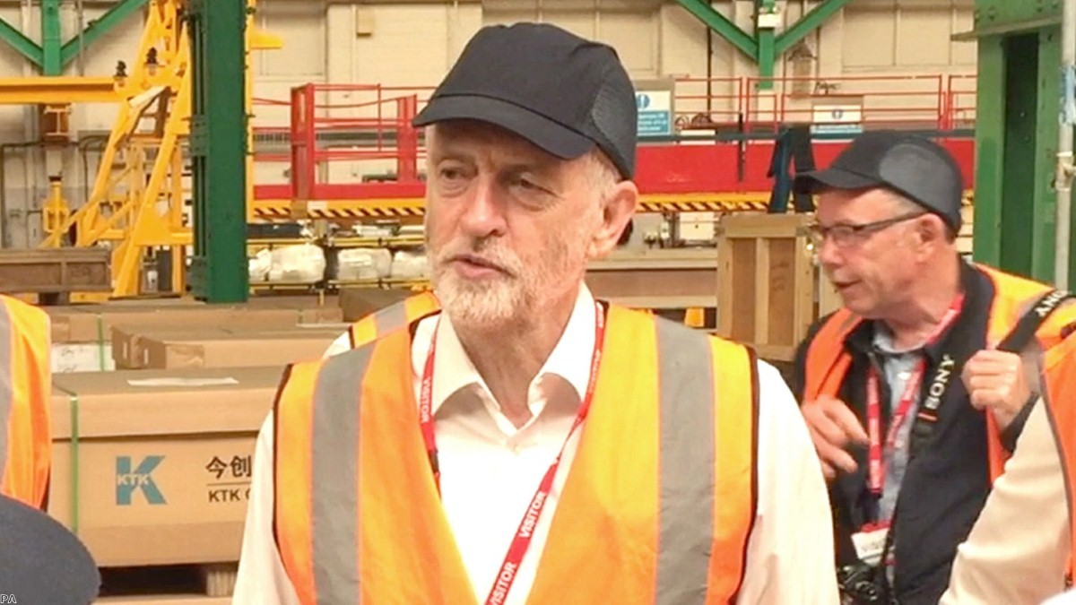 Jeremy Corbyn during his visit to HS2 trains bidder Bombardier in Derby | Copyright: PA