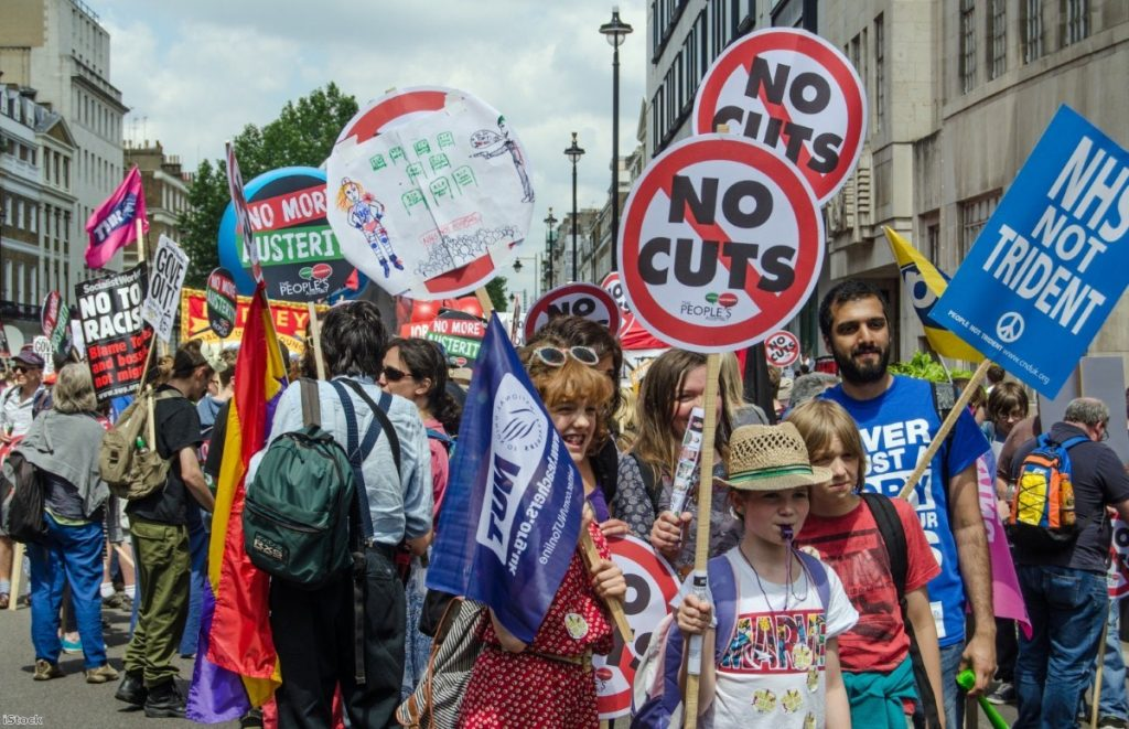 Protest against the government's austerity measures in London, June 2014
