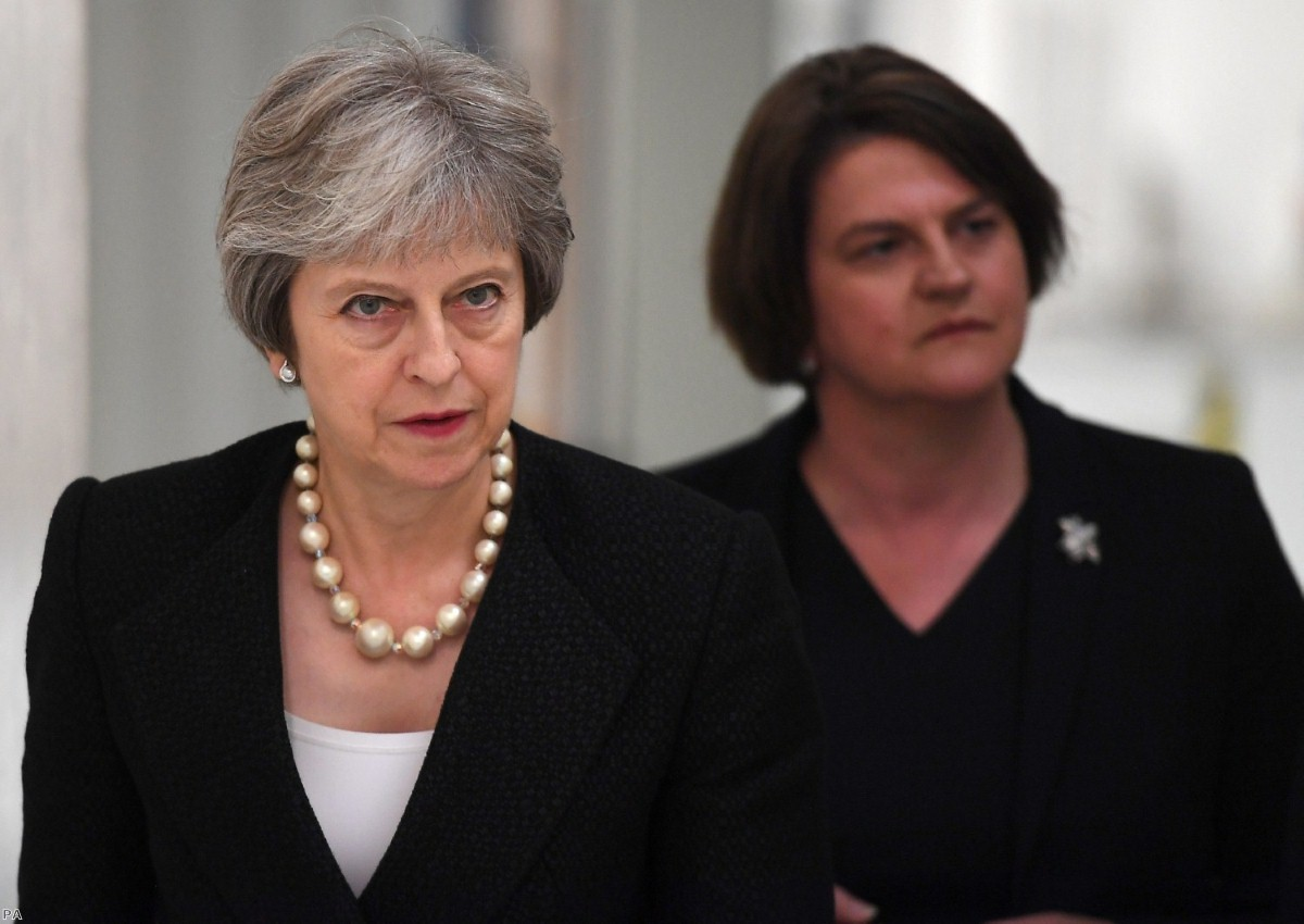 Tied together by weakness: Theresa May and Arlene Foster during a visit to Belleek pottery factory I Copyright: PA