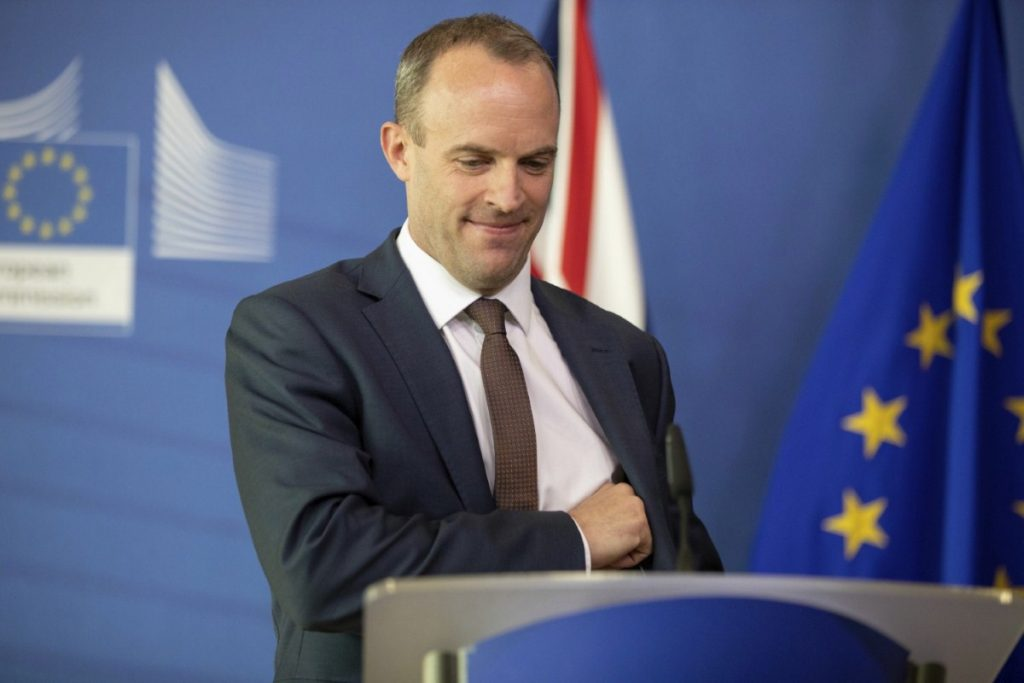 Dominic Raab stands alongside Michel Barnier in Brussels yesterday. The government is releasing no-deal preparedness reports this week. Copyright: PA