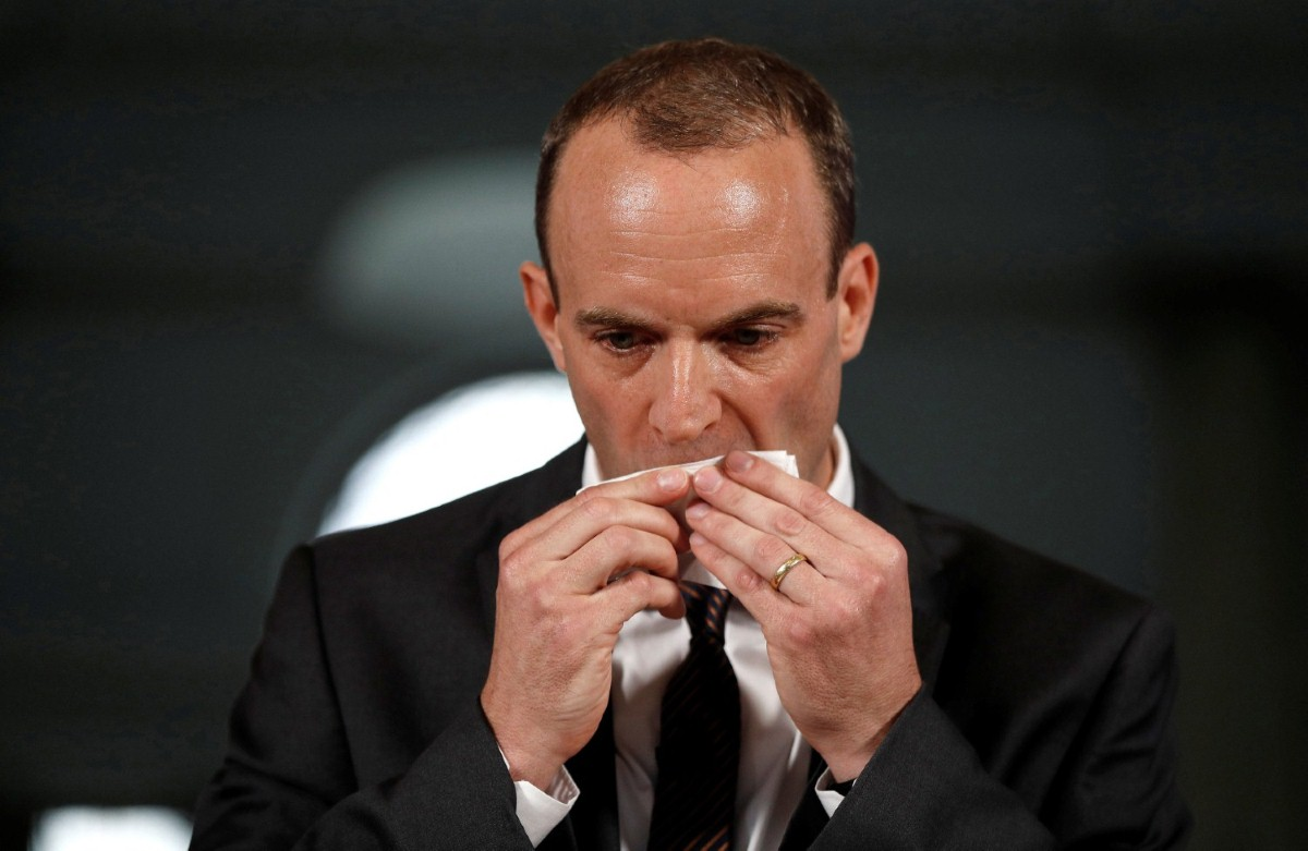 Raab sweats as he delivers his speech revealing the no-deal technical documents