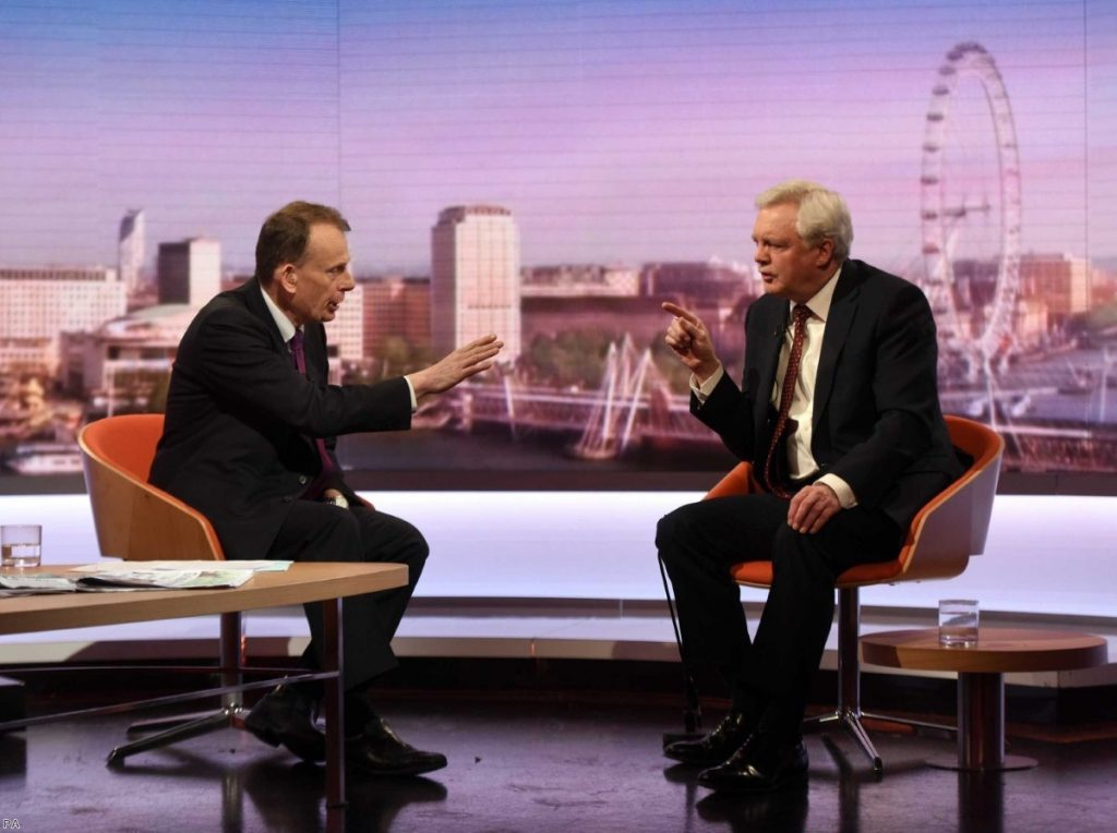 David Davis on The Andrew Marr Show in 2017 | Copyright: PA