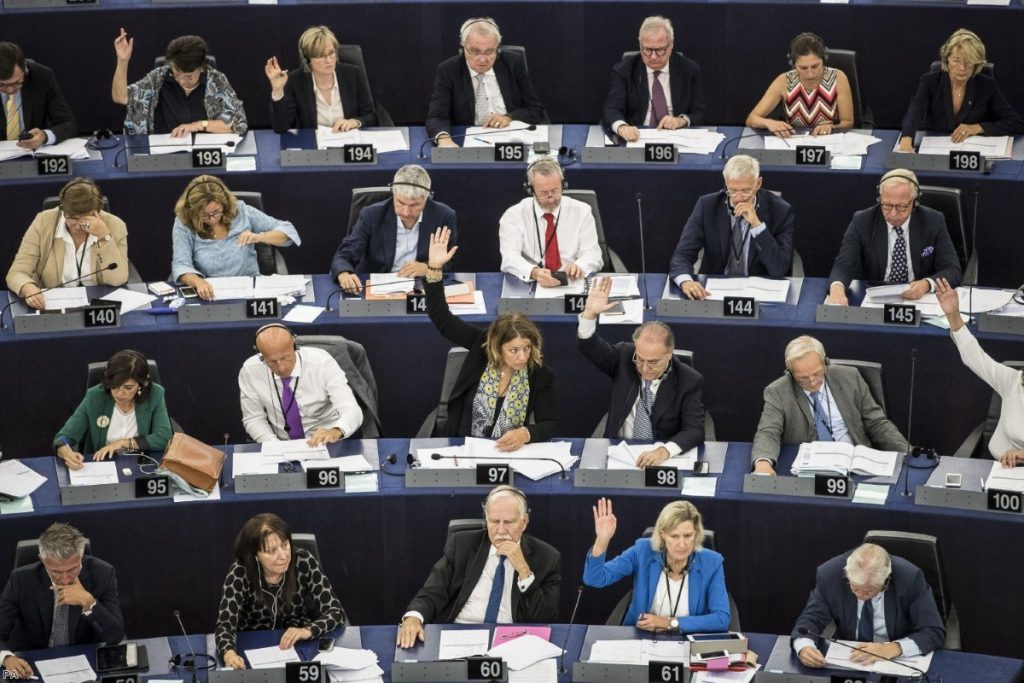 EU lawmakers voting against Viktor Orban for allegedly undermining the bloc's democratic values and rule of law | Copyright: PA