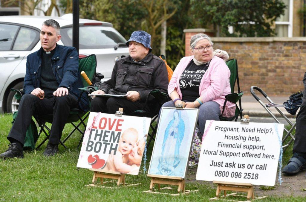 Pro-life campaigners outside Marie Stopes clinic on Mattock Lane, Ealing, London | Copyright: PA