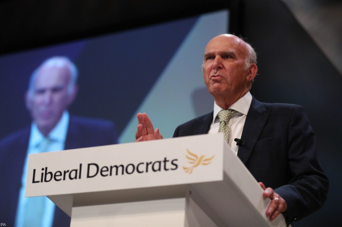 Sir Vince Cable delivers his keynote speech at the Liberal Democrats party conference   Copyright: PA
