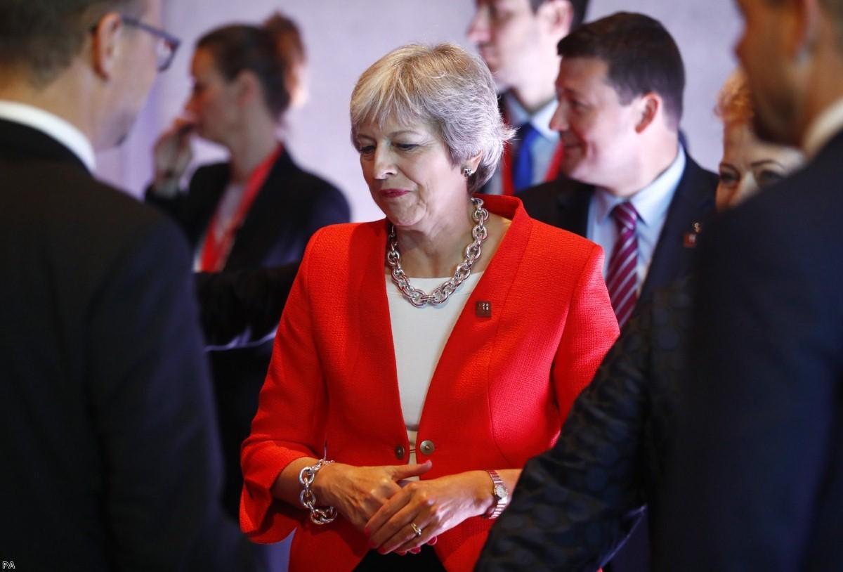 Theresa May stat the informal EU summit in Salzburg, Austria   Copyright: PA