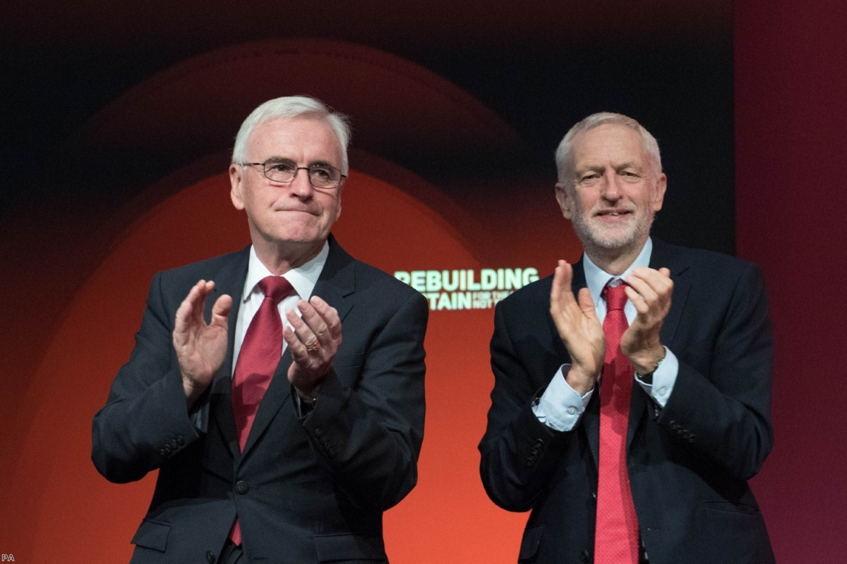 Jeremy Corbyn and John McDonnell at the Labour Party's annual conference   Copyright: PA