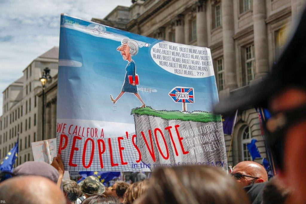 Protestors march during the People's Vote demonstration against Brexit on June 23, 2018 in London   Copyright: PA