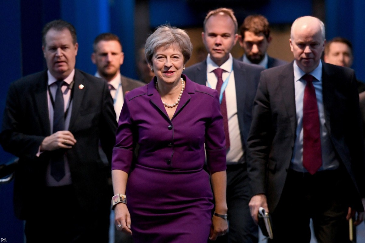 Theresa May at the Conservative Party annual conference in Birmingham   Copyright: PA