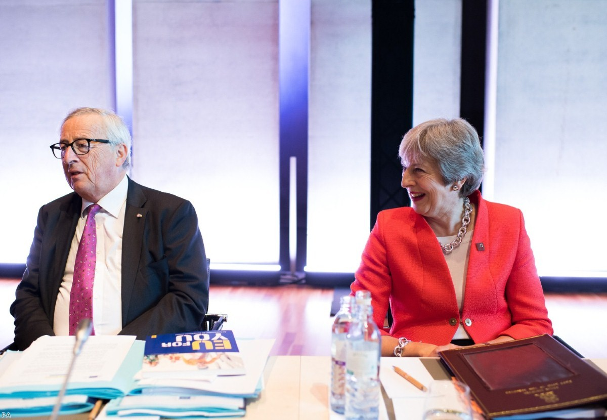 Jean Claude Juncker and Theresa May during the Informal Summit of Heads of Governments and States of the EU | Copyright: PA