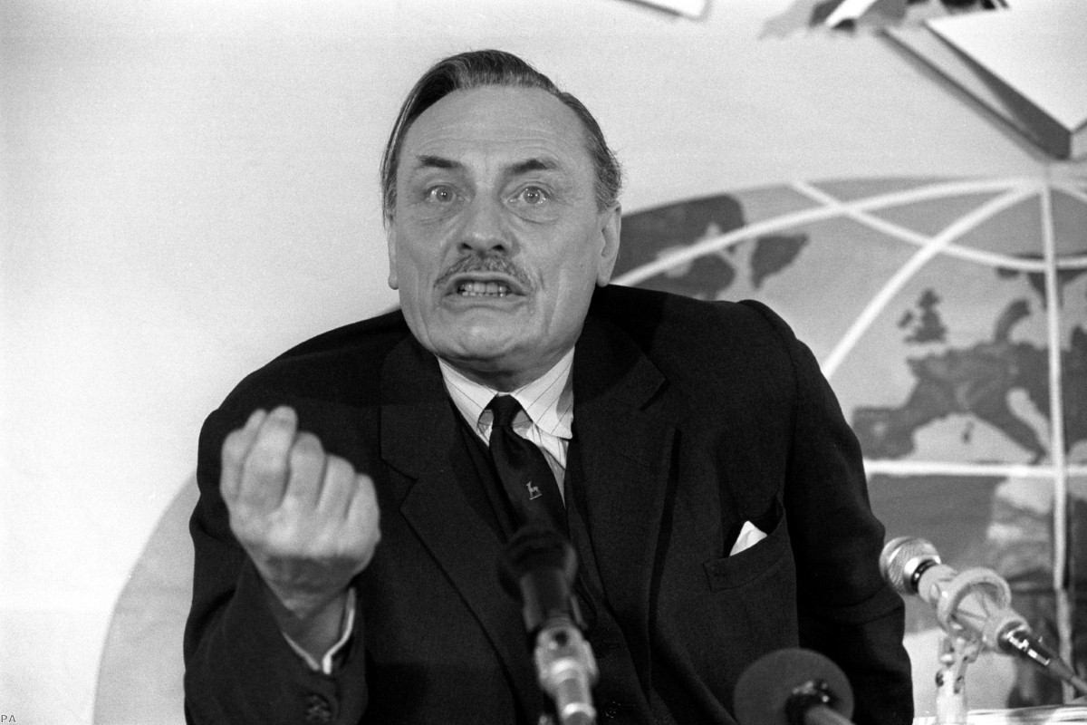 Enoch Powell during the National Referendum Campaign Press conference in 1975 | Copyright: PA