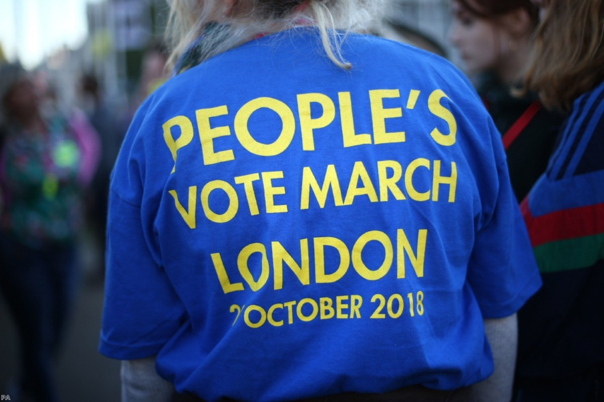 Anti-Brexit campaigners take part in the People's Vote March for the Future in London   Copyright: PA
