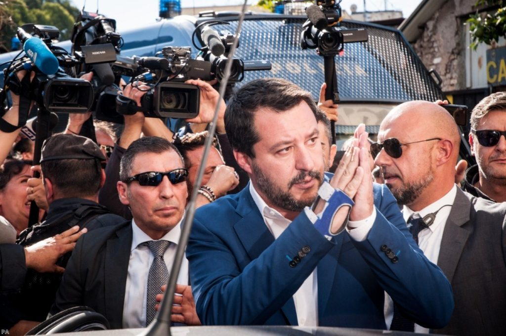 Italian deputy premier Matteo Salvini is greeted by chants of 'jackal, jackal' as he visits the site of a murder last month. Right-wing populists are on the march across the West.
