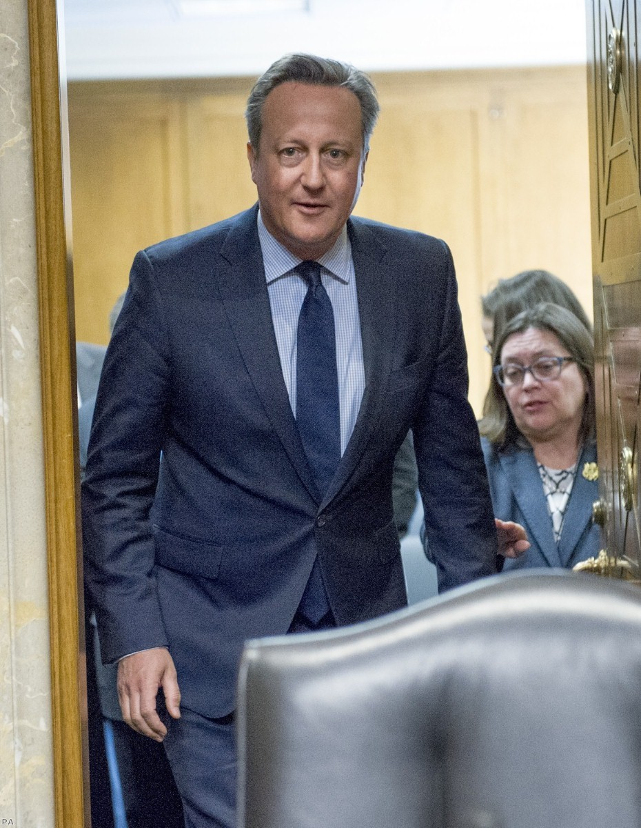 David Cameron arrives to testify to the US Senate Committee on Foreign Relations last March. The former PM is said to mulling a return to British politics.