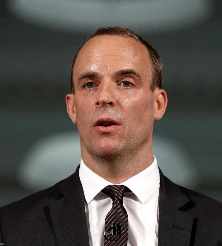 Dominic Raab, Brexit secretary, now faced by the consequences of the myths he used to promote.