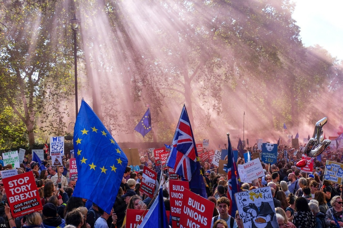 The sun shines on anti-Brexit demonstrators at a march in October. Their chances of staying in the EU are now improved.