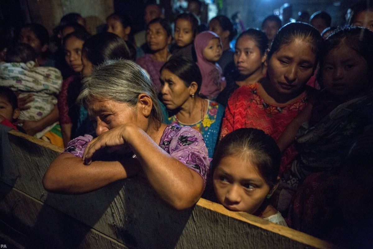 Elvira Choc grieves as she attends a memorial service for her seven-year-old granddaughter, Jakelin Caal Maquin, in San Antonio Secortez, Guatemala, last Monday.