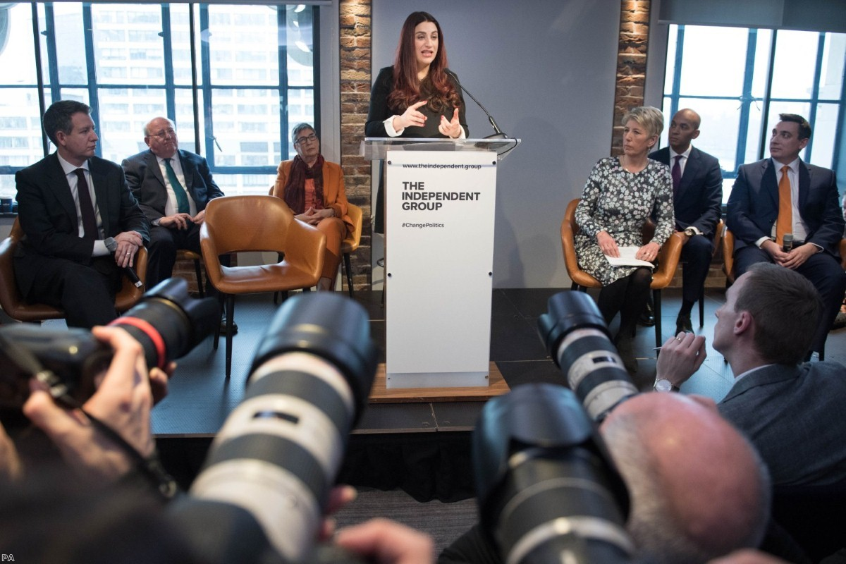 Labour MPs (left to right) Chris Leslie, Mike Gapes, Ann Coffey, Luciana Berger, Angela Smith, Chuka Umunna and Gavin Shuker announce their resignations today.