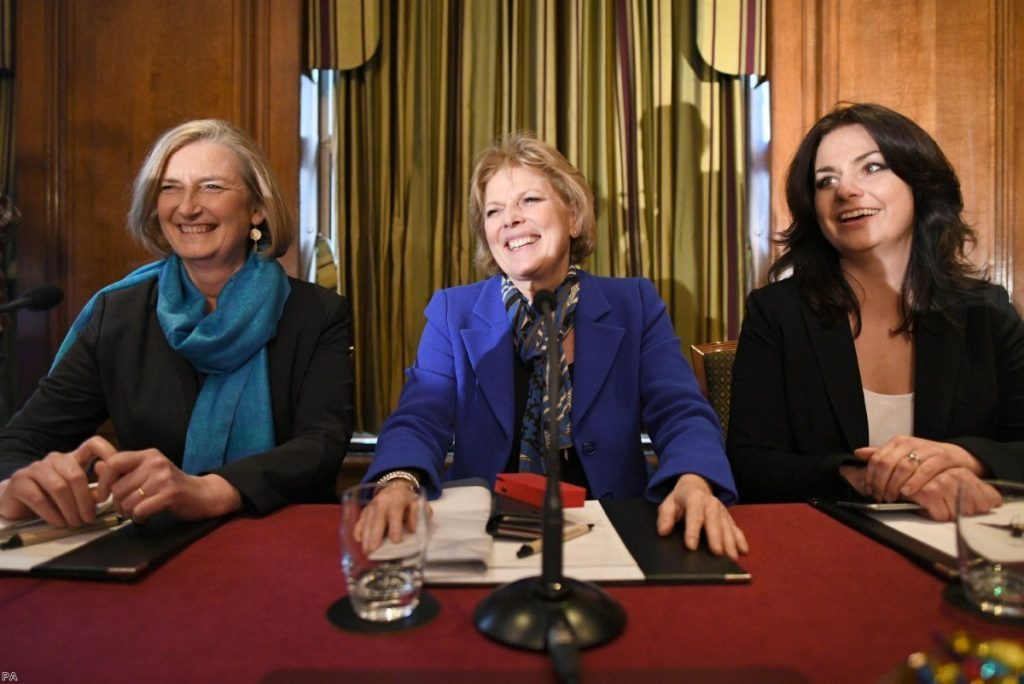 Anna Soubry, Heidi Allen and Sarah Wollaston announce their departure at a pres conference today.