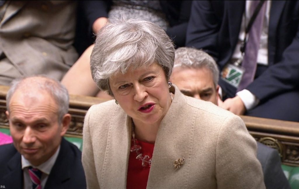 May urges the Commons to back hr plan for a third time this afternoon.