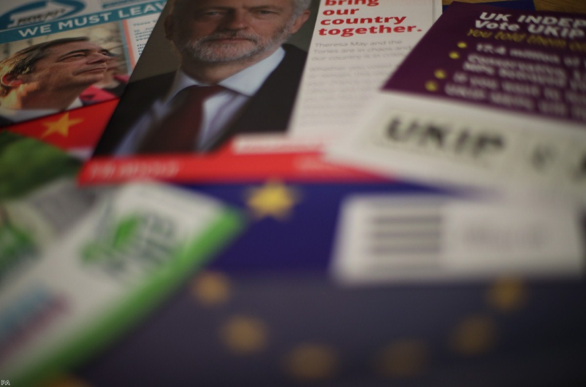 European election leaflets ahead of the vote this week.