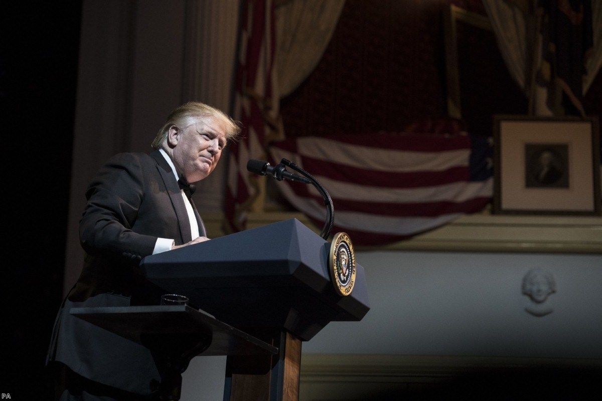 US President Donald Trump delivers a speech at the Ford's Theatre Society Annual Gala yesterday. He will arrive in London this week.