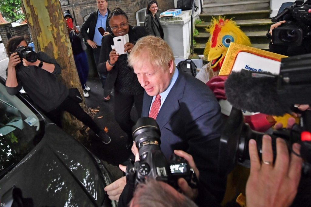 Conservative party leadership contender Boris Johnson leaving his home in south London this morning.