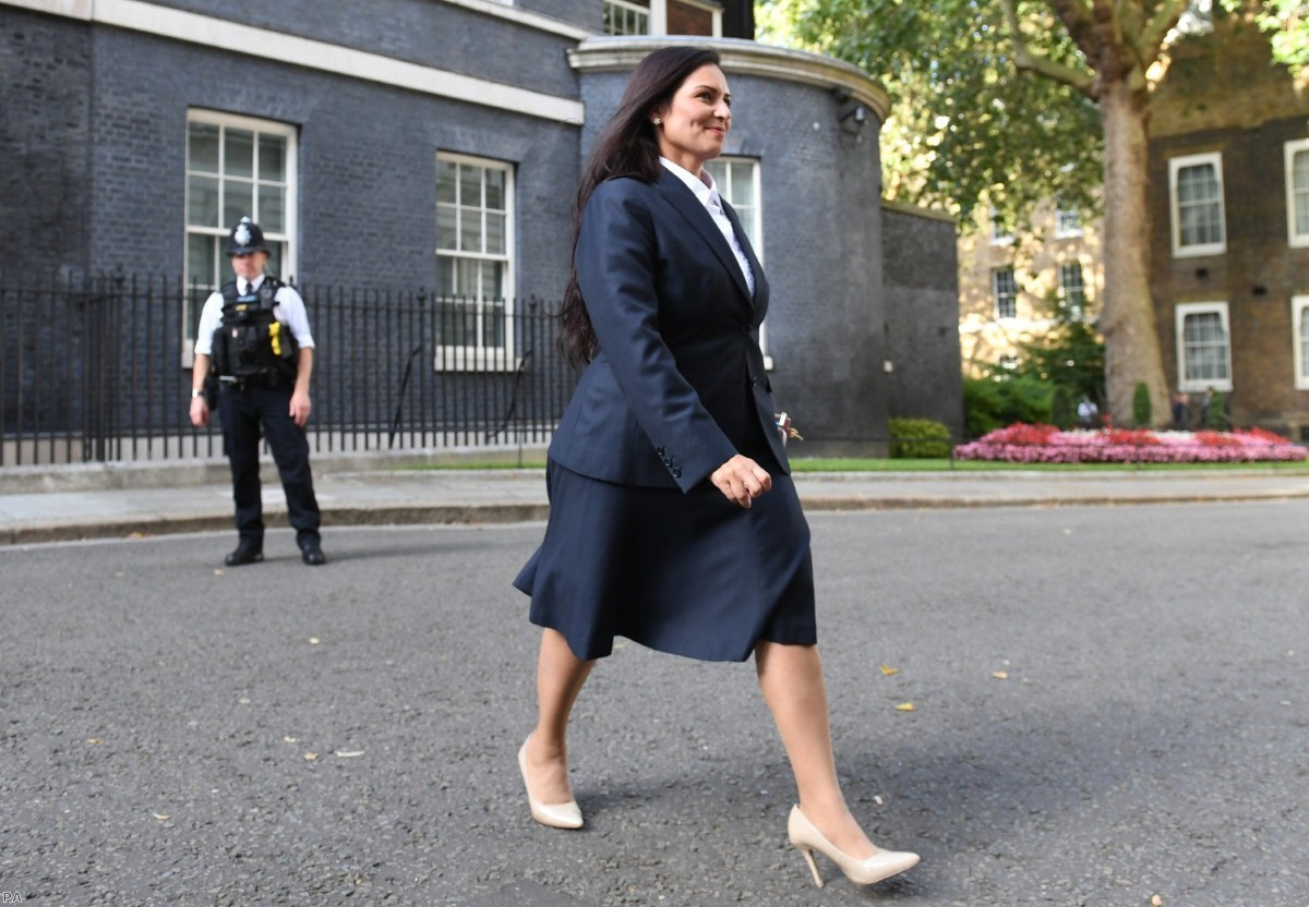Priti Patel leaves Downing Street after being made home secretary