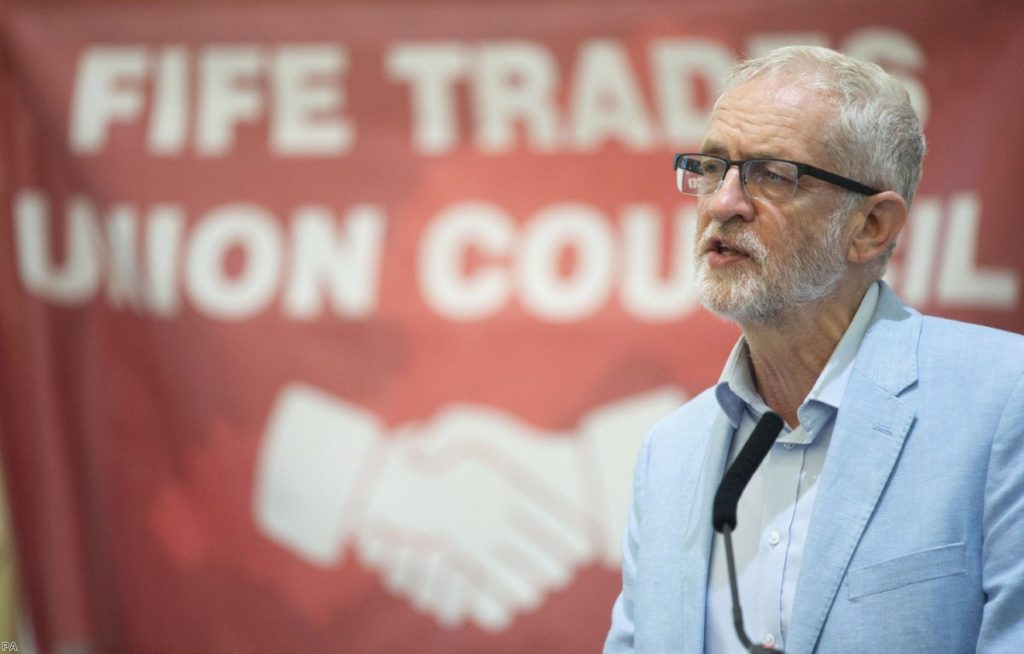 Jeremy Corbyn delivers a speech to the Scottish Trades Union Congress. His position on Brexit has shifted in recent months.