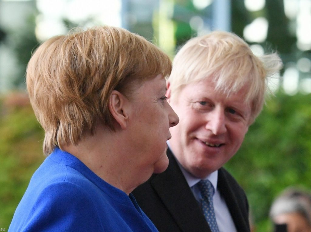 Merkel and Johnson in Berlin during the summer. The call between them today activated the next stage of No.10's PR strategy.