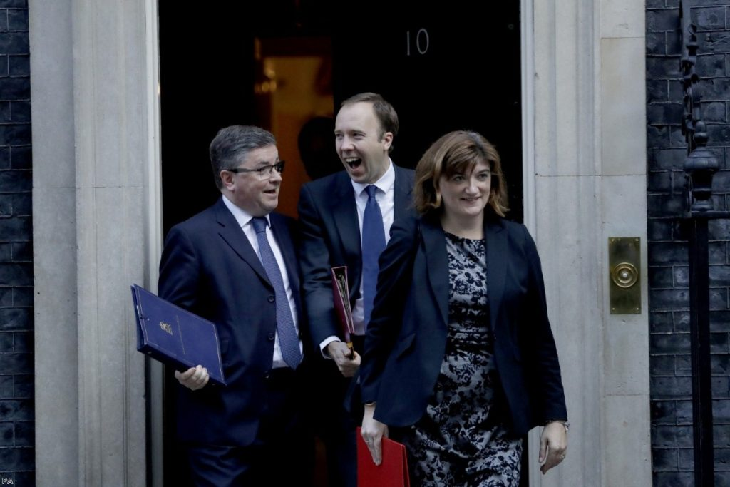 Ministers leave after a Cabinet meeting. The narrative of the government becomes ever more difficult to discern.